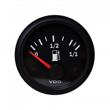 VDO Vision Tubular Fuel level Gage Diameter 52 Black Background