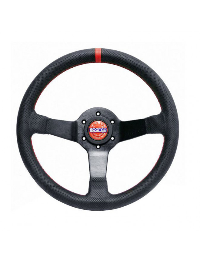 Sparco Champion Dished Steering Wheel in Black Leather