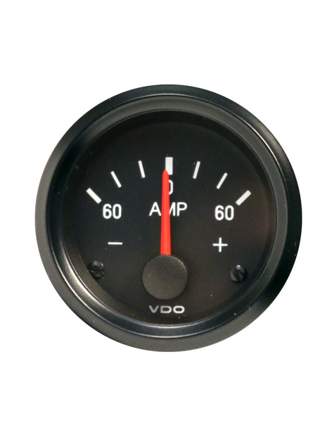 VDO Cockpit International 60A Ammeter Black Background Diameter 52mm