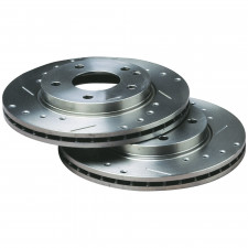 """Bratex Group A drilled grooved brake disks Audi A6 15"""" Rear 255x10 - image #"""