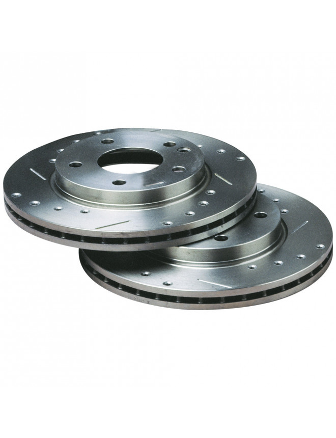 Bratex Group A drilled grooved brake disks VW Polo Type 1LM Front 239x18
