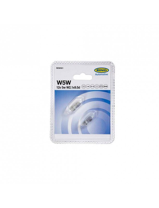 2 ampoules 12V 5W WEDGEBASE W2.1X9.5D RING