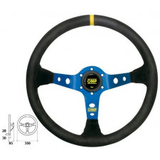 OMP Corsica Suede Black Steering Wheel Blue Anodized Spokes