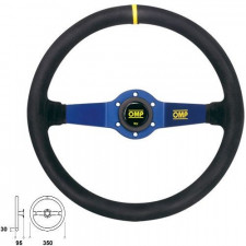 OMP Rally Suede Black Steering Wheel Blue Anodized Spoke