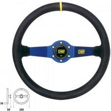 OMP Rally Suede Black Steering Wheel Blue Anodized Spoke