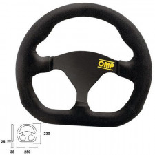 OMP Quadro Black SUede Steering Wheel 250 mm