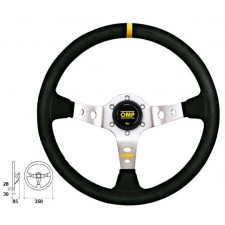 OMP Corsica Black Suede Steering Wheel Silver Anodized Spoke