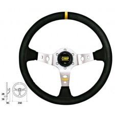 OMP Corsica Black Suede Steering Wheel Silver Anodized Spoke