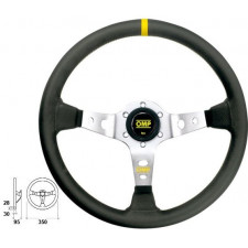 OMP Corsica Black Leather Steering Wheel Silver Anodized Spoke