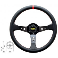 OMP Corsica Black Leather Steering Wheel Red Stiching