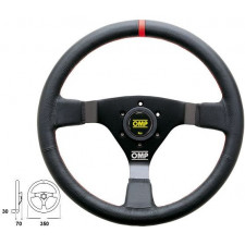OMP WRC Black Leather Steering Wheel Red Reference