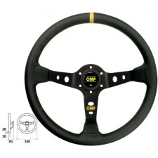 OMP Corsica Black Leather Dished Steering Wheel