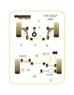 Powerflex Bushing Black Rear Tie Bar Front Bush Volkswagen Golf V GTi (2 Pieces)