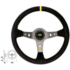 OMP Corsica Black Suede Steering Wheel Titanium Anodized Spoke