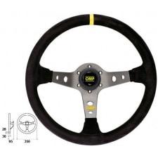 OMP Corsica Black Suede Steering Wheel Titanium Anodized Spoke