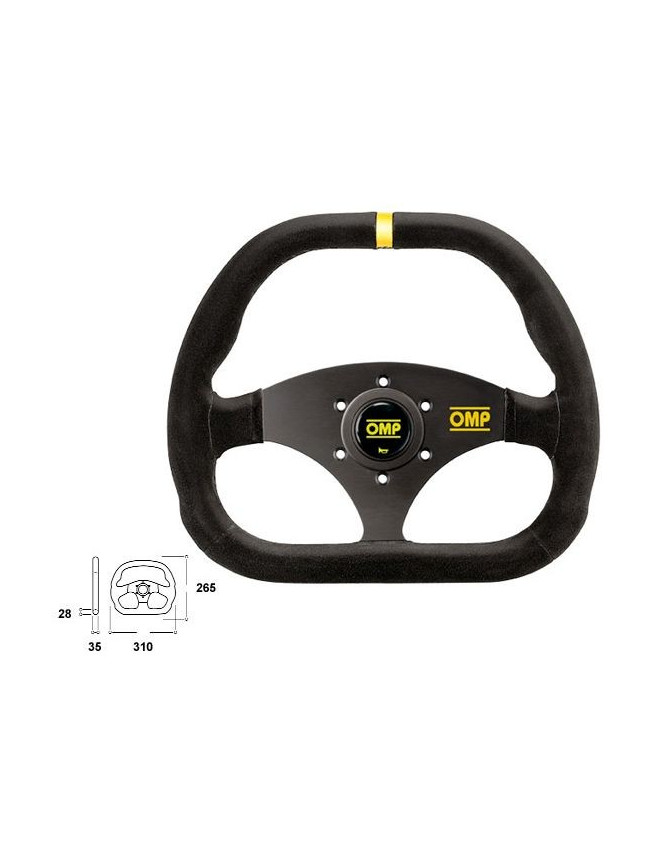OMP Kubic Black Steering Wheel 310x265mm