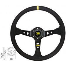 OMP Corsica Black Suede Steering Wheel Black Anodized Spokes
