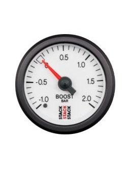 Manomètre Stack Pression Turbo -1/+2 Bars Mécanique Fond Blanc