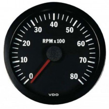 VDO Rev-counter 8000 RPM Diameter 100 Black Background 4 / 6 / 8 Cylinders Diesel / Fuel