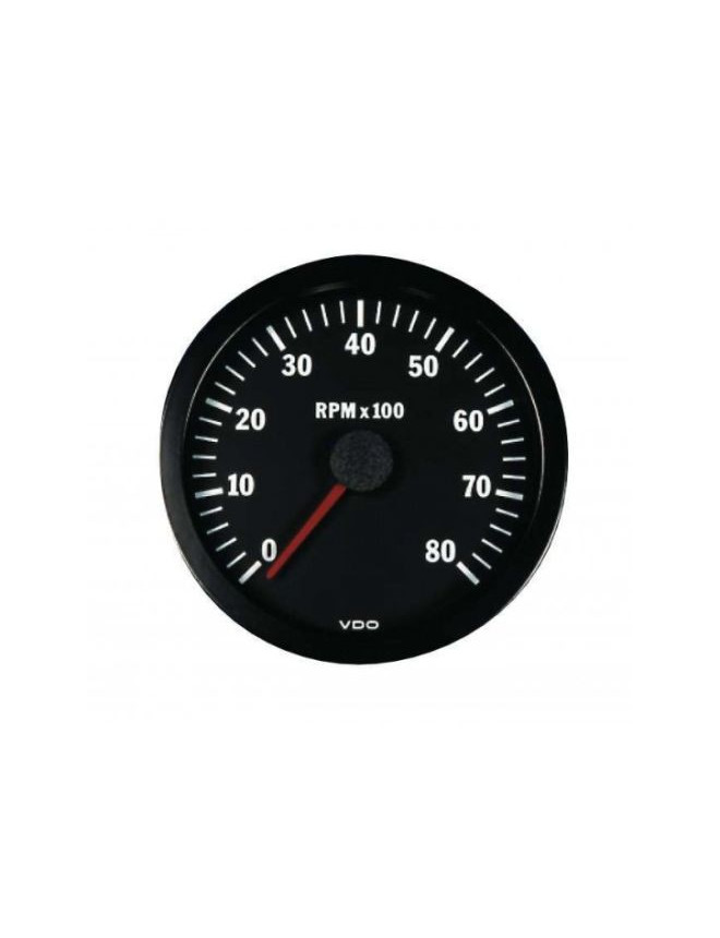 VDO Rev-counter 8000 RPM Diameter 52 Black Background 4 / 6 / 8 Cylinders Diesel / Fuel