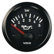 Manomètre VDO Pression Huile 0-5 Bars Diamètre 52 Fond Noir