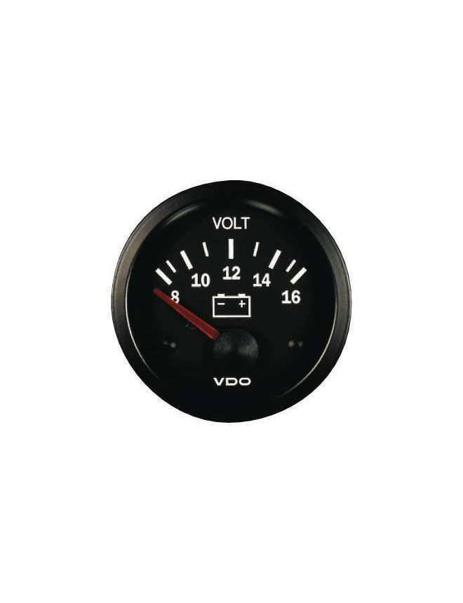 VDO Vision Voltmeter Gage 8 / 16 Volts Diameter 52 Black Background