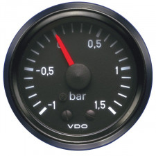 VDO Turbo Pressure Gage 1.5 Bar Diameter 52 Black Background