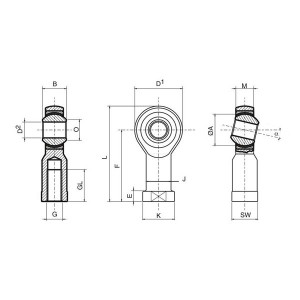 Reinforced Ball seal Rodobal SE Female Pitch to Right 12mm / 1.75mm