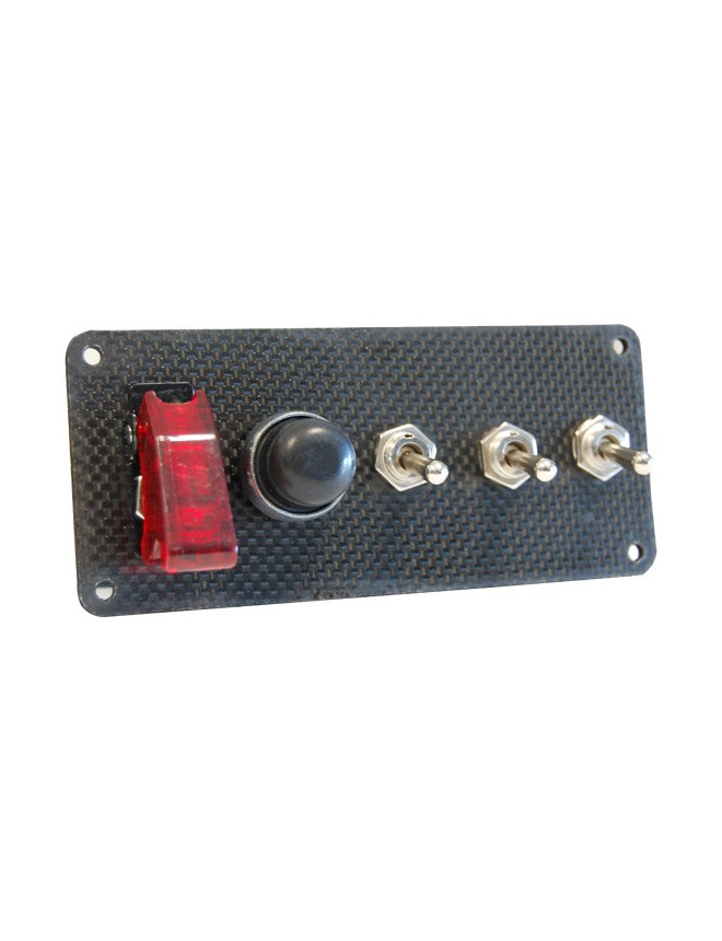 Start Pack  3 Accessories Plates in Genuine Carbon  Switches + Push Buttons