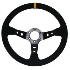 Cévennes Black Suede Steering Wheel / Black Spoke