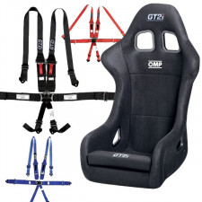 "GT2i Race-L Bucket Seat + GT2i Race Harness 6 pts 2""/3"" HANS Pack"