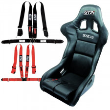Pack GT2i Race Skaï M by Sparco Bucket Seat + Free Harness