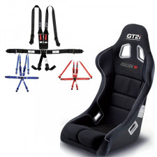 "GT2i Race-S Bucket Seat + GT2i Race Harness 6 pts 2""/3"" HANS Pack"