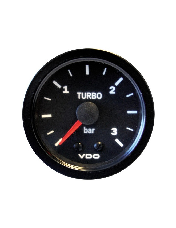 VDO Turbo Pressure Gage 0-3 Bars Diameter 52 Mechanic Black Background