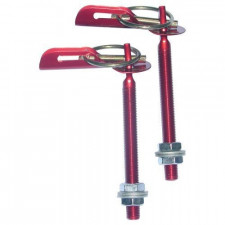 Bonnet Pin Dakar Type in Red Aluminium (Pair)