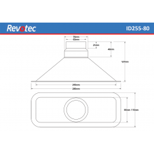 Revotec Rectangular Air Intake Duct 255X80mm