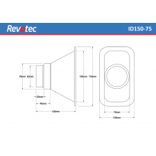 Revotec Rectangular Air Intake Duct 150X75mm
