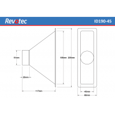 Revotec Rectangular Air Intake Duct 190X45mm
