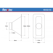 Revotec Rectangular Air Intake Duct 152X51mm