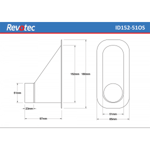 Revotec Rectangular Air Intake Duct 152X51mm Offset Outlet